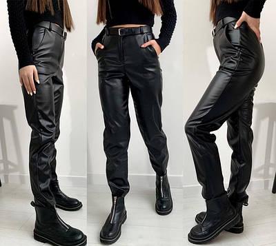 """Жіночі шкіряні штани на флісі """"Muse"""" І В"""