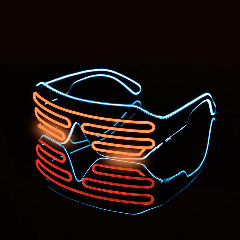Led очки сине-оранжевые. Светодиодные очки с пультом управления, 3 режима работы. Очки для вечеринки