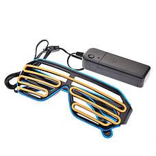 Led очки сине-оранжевые. Светодиодные очки с пультом управления, 3 режима работы. Очки для вечеринки, фото 3