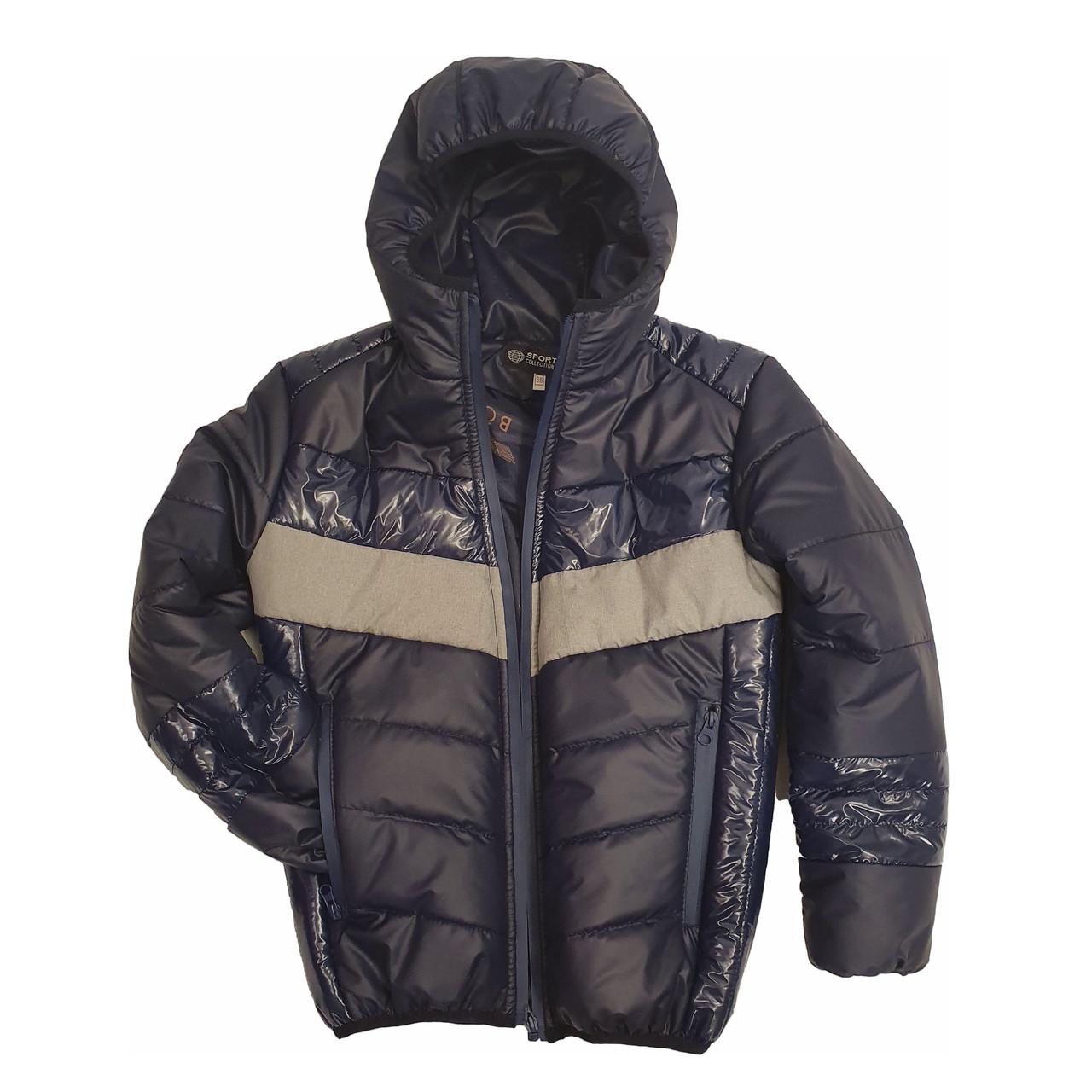 Демисезонная короткая курточка на мальчика подростка, цвет синий, р-ры 140-170, мод.Дарио