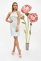 Летний хлопковый женский сарафан, платье - футляр на одно плечо 38, Голубой