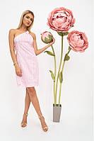 Летний хлопковый женский сарафан, платье - футляр на одно плечо XS, Розовы