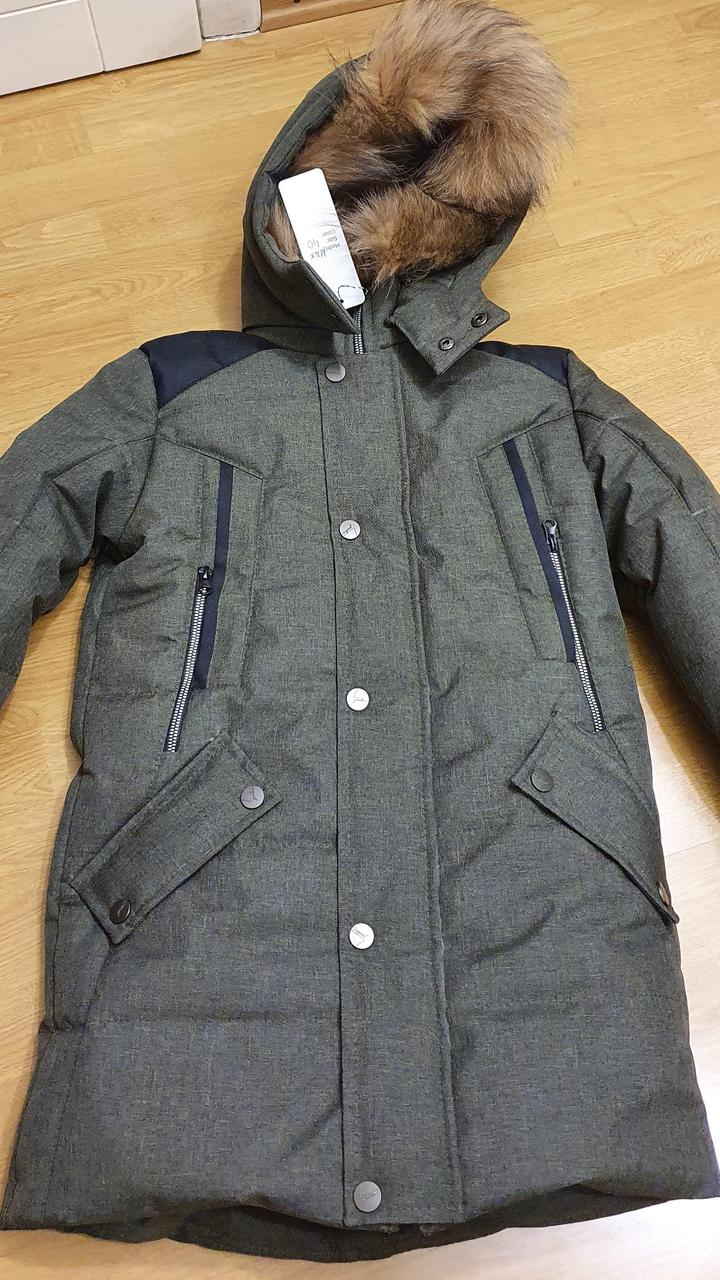 Темно-зеленая зимняя куртка на подростка, 140-170