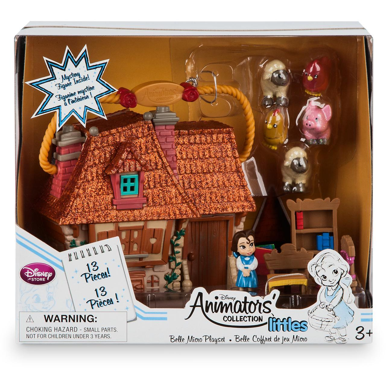 "Disney Animators' Collection Littles Belle Micro Doll Play - 2"". Набор игрушек 13 предметов Белль"