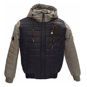 Детская подростковая куртка короткая демисезонная для мальчика, цвет Синий, размеры 140 - 170, модель Тарас,