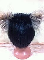 Меховая шапка из ондатры на вязанной  основе ушки из енота