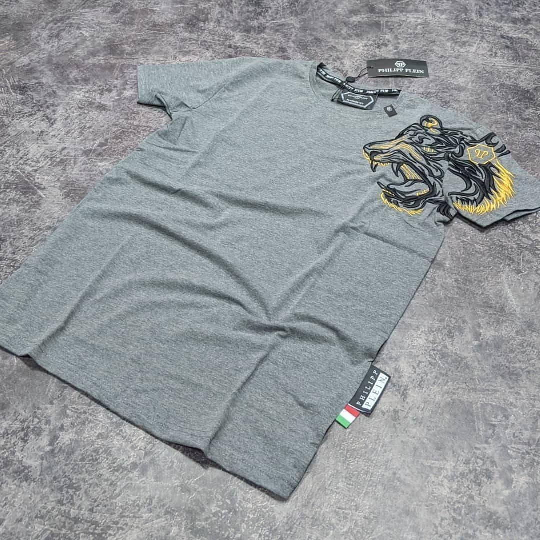 Мужская футболка Philipp Plein CK1683 серая