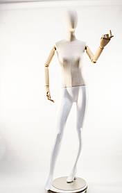 Манекен женский AL-4 тканевый с деревянными шарнирными руками