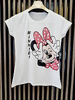 Стильная молодежная футболка для девушек с качественным компьютерным принтом Minnie размер 44-48, белого цвета