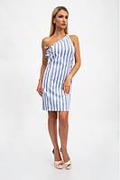 Летний хлопковый женский сарафан, платье - футляр на одно плечо XS, Синий
