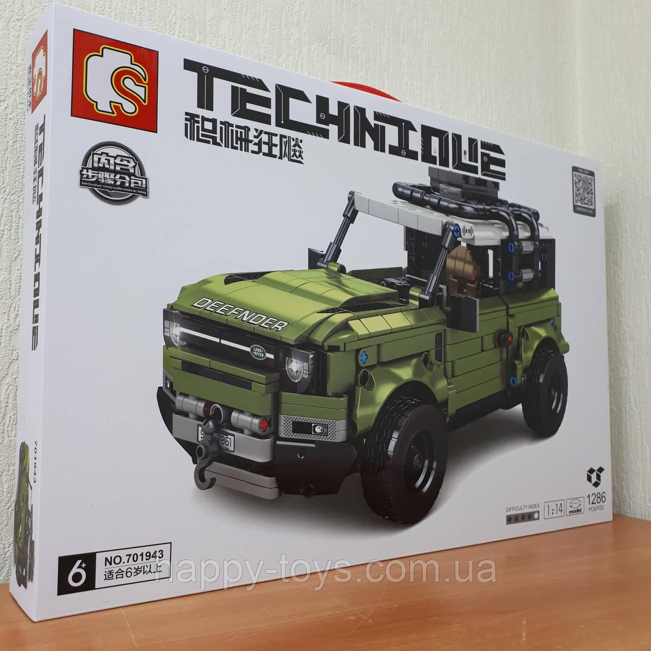 Конструктор Land Rover Defender Джип Внедорожник Ленд Ровер Дефендер 1:14 Sembo Block 701943 1286 деталей