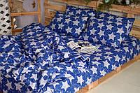 Комплект постельного белья Двуспальный(175х205) Звёзды на синем Бязь от Brettani