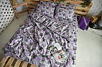 Комплект постельного белья Семейный(150х205) Сиреневые сердца Бязь от Bretanni