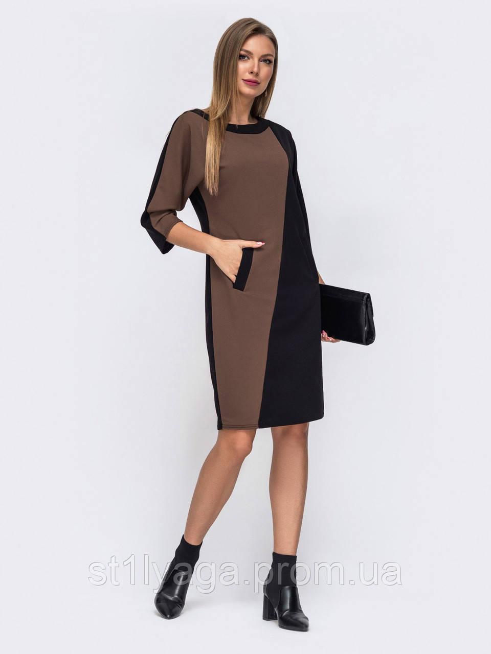 Стильное приталенное  платье с цельнокроеным рукавом
