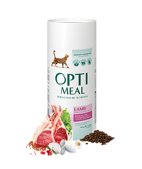 Сухой корм Optimeal Оптимил для котов с чувствительным пищеварением с ягненком, 650 г
