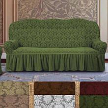 Натяжные универсальные готовые чехлы накидки на трехместные диваны с оборкой Зеленый жаккардовые Турция