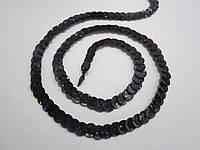 Пайетки на нитке (тесьма) чёрные рифлёные круглые голографические (диаметр пайеток 6 мм)