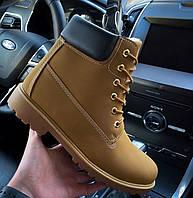 Ботинки мужские зимние с мехом Тимбо| ботинки теплые рыжие. Живое фото, фото 1