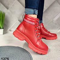 Красные кожаные зимние ботинки, фото 1