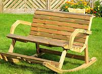 Садовая скамейка качалка со спинкой ручной работы
