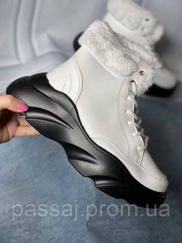 Зимние ботинки с мехом белого цвета! модель зимы 2020! новинка!