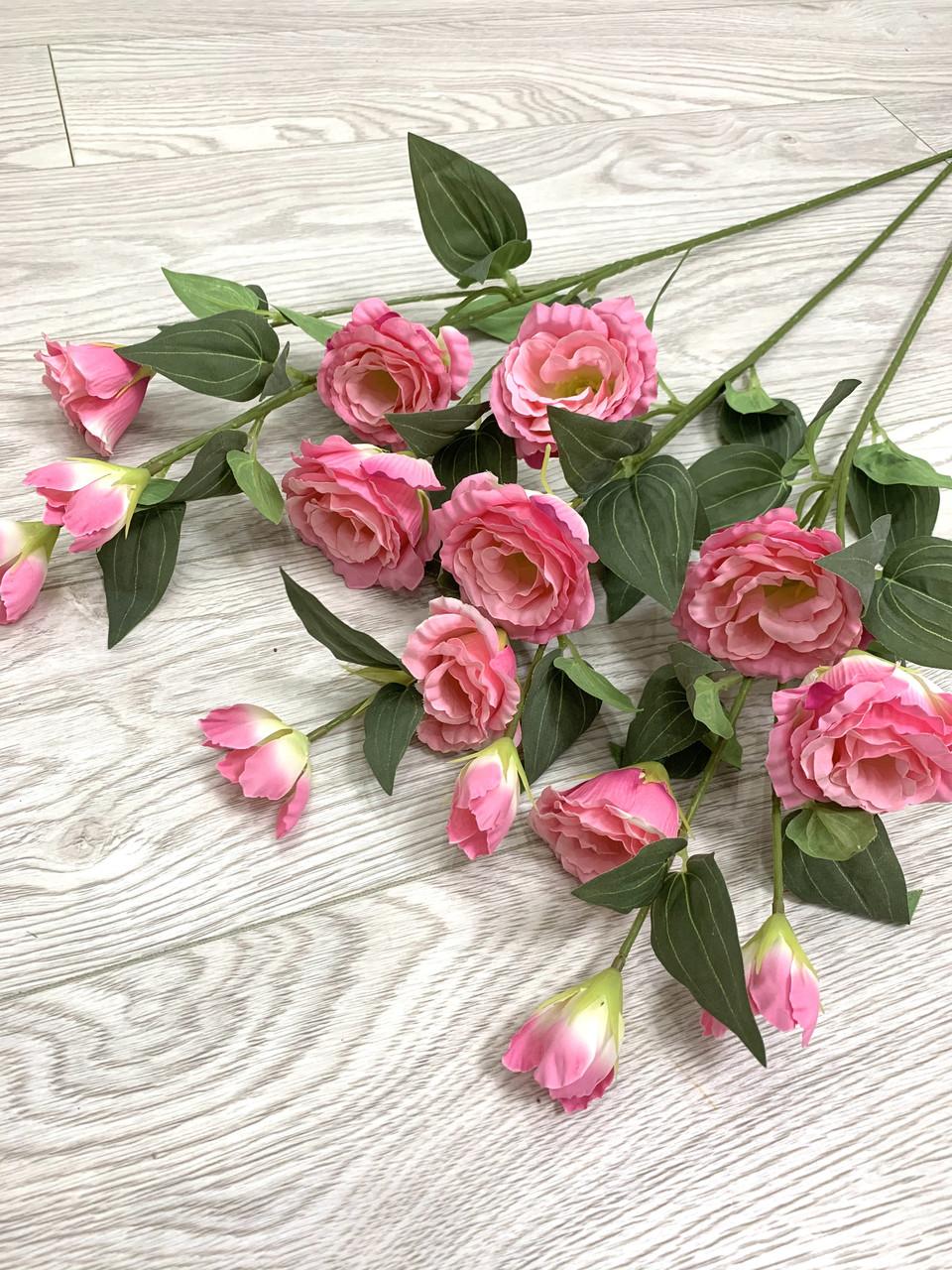 Искусственная эустома розовая ( премиум , имитация натурального растения)