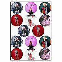 Капкейки-6 см Lil Peep 1 вафельная картинка