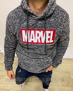 Мужской серый худи с капюшоном плюшевый травка с принтом Marvel Марвел