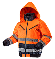 Утепленная рабочая сигнальная куртка 81-711, оранжевого цвета. NEO TOOLS