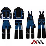 Брюки рабочие PROFESSIONAL-REF синего цвета с черными вставками.ARTMAS, фото 3