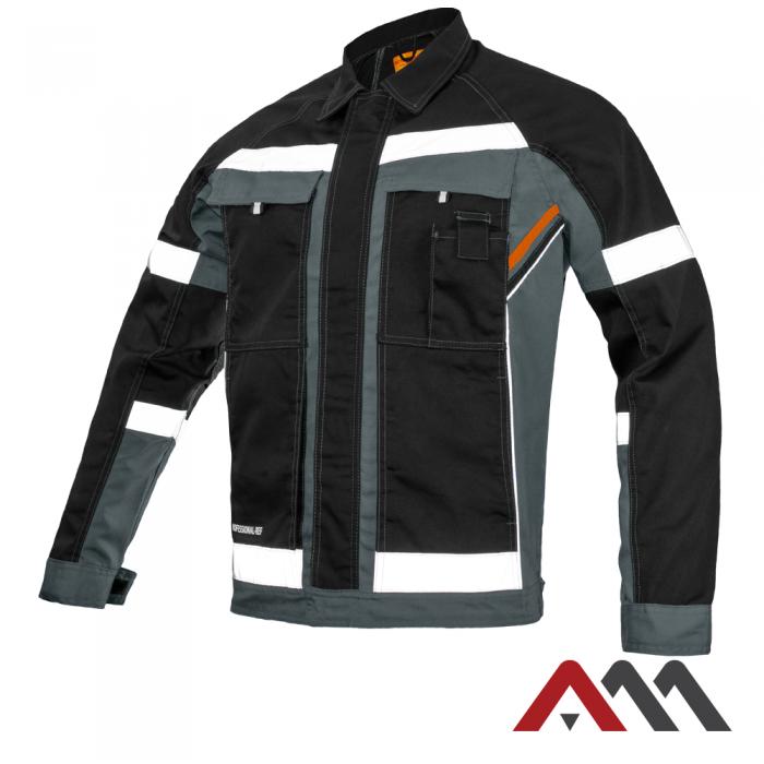 Куртка рабочая PROFESSIONAL-REF серого цвета с оранжевыми и черными  вставками.ARTMAS