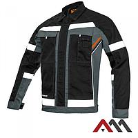 Куртка рабочая PROFESSIONAL-REF серого цвета с оранжевыми и черными  вставками.ARTMAS, фото 1