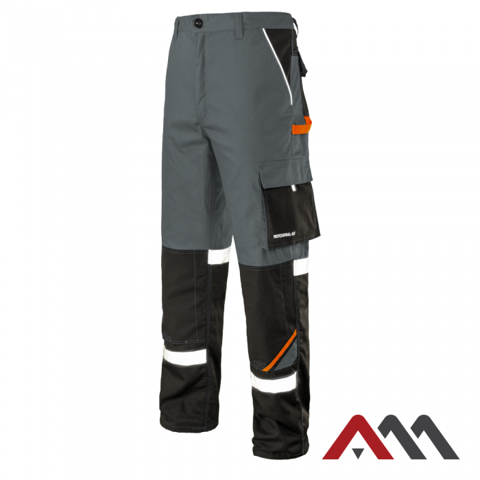 Брюки рабочие PROFESSIONAL-REF серого цвета с оранжевыми и черными вставками.ARTMAS