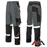 Брюки рабочие PROFESSIONAL-REF серого цвета с оранжевыми и черными вставками.ARTMAS, фото 2