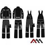 Брюки рабочие PROFESSIONAL-REF серого цвета с оранжевыми и черными вставками.ARTMAS, фото 3