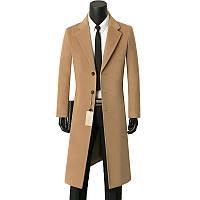 Нове чоловіче однобортне осінньо-зимове однобортне пальто з кашеміру