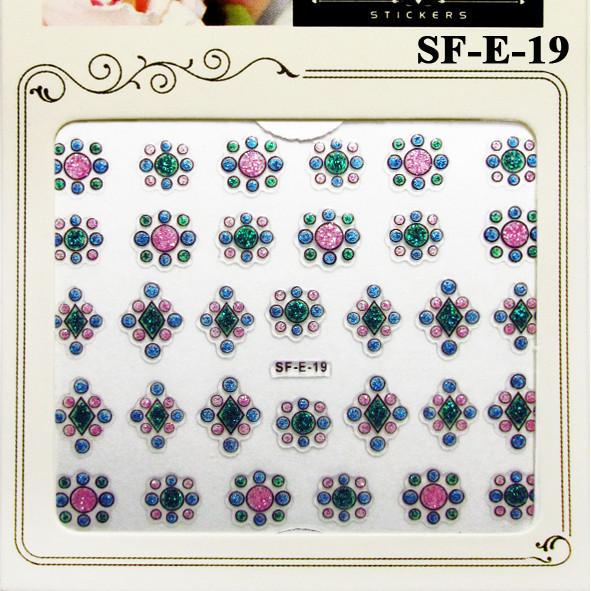 Наклейки для Ногтей Самоклеющиеся 3D Nail Sticrer SF-E-19 Разноцветные с Блестками Декоры для Ногтей