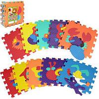 Детский мягкий коврик мозаика напольный Метр + Животные, 10 деталей 31.5х31.5 см.