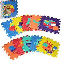 Детский мягкий коврик мозаика напольный Метр + транспорт, 10 деталей 31.5х31.5 см.