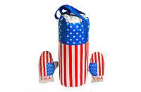 """Детские боксерский набор подвесной перчатки и груша кожзам Danko Toys """"Америка"""""""