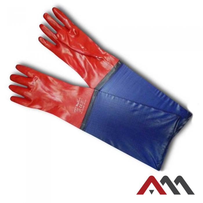 Защитные перчатки RPVCD35 cm из ПВХ красного цвета