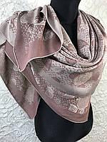 Женский двухсторонний коричневый платок с люрексом Турция, фото 1