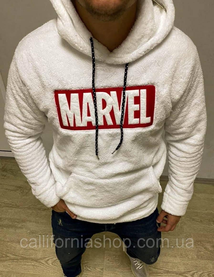 Мужской белый худи с капюшоном плюшевый травка с принтом Marvel Марвел