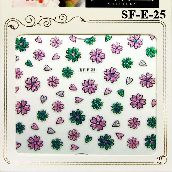 Наклейки для Ногтей 3D SF-E-25 Розовые и Зеленые Цветы с Блестками Для Декора и Дизайна Ногтей