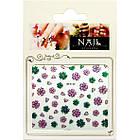 Наклейки для Ногтей 3D SF-E-25 Розовые и Зеленые Цветы с Блестками Для Декора и Дизайна Ногтей, фото 2