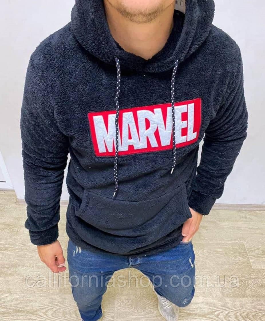 Мужской худи с капюшоном плюшевый травка с принтом Marvel Марвел