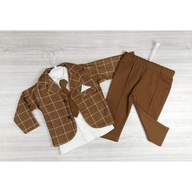 Детский нарядный костюм-тройка на мальчика коричневый с галстуком