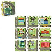Детский коврик-мат мягкий EVA город напольный, 9 деталей 31-31 см.