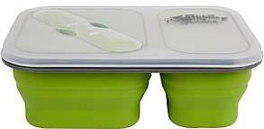 Контейнер ланч бокс силиконовый 2 отсека с ловилкой 900мл Tramp TRC-090 Olive