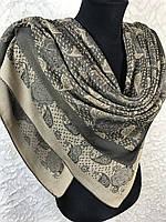 Женский серо-бежевый платок с люрексом Турция, фото 1